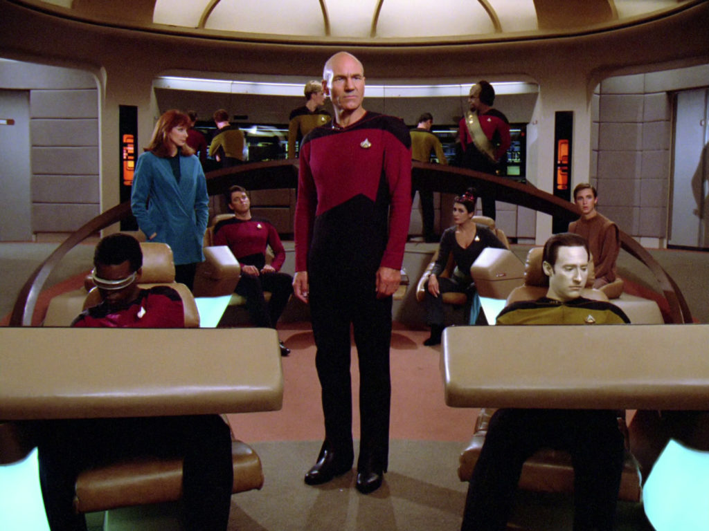 Picard and co on the bridge