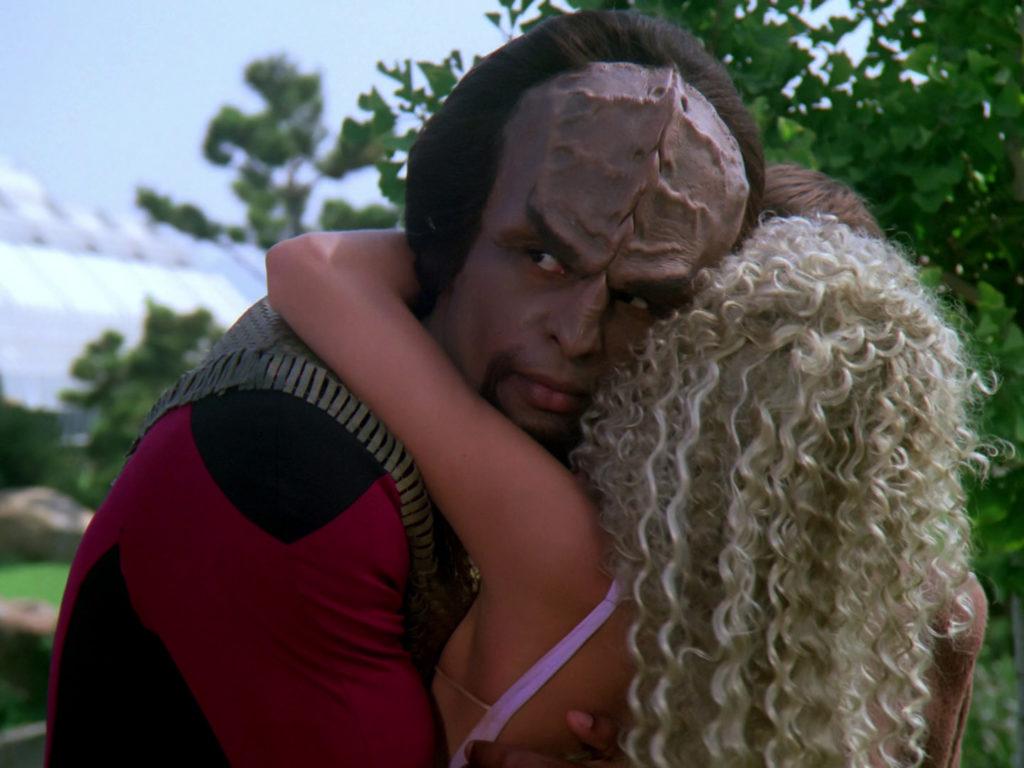 Rivan hugs Worf