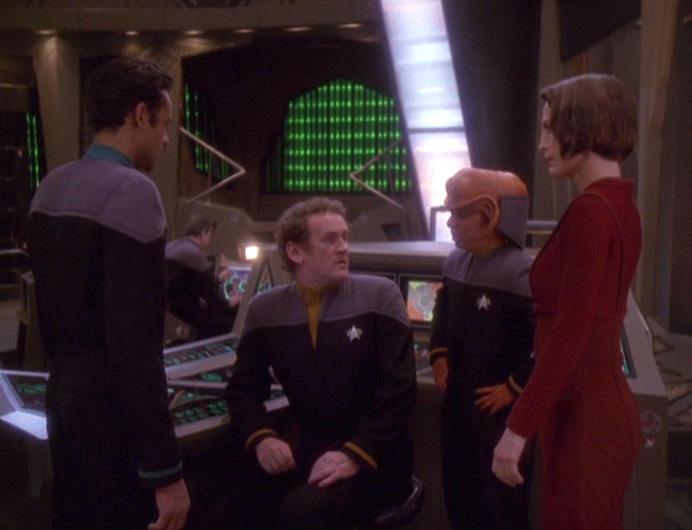 Sisko finds everyone talking in Ops