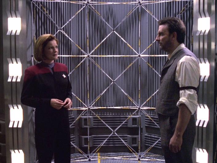 Janeway scrutinizes the Sullivan hologram