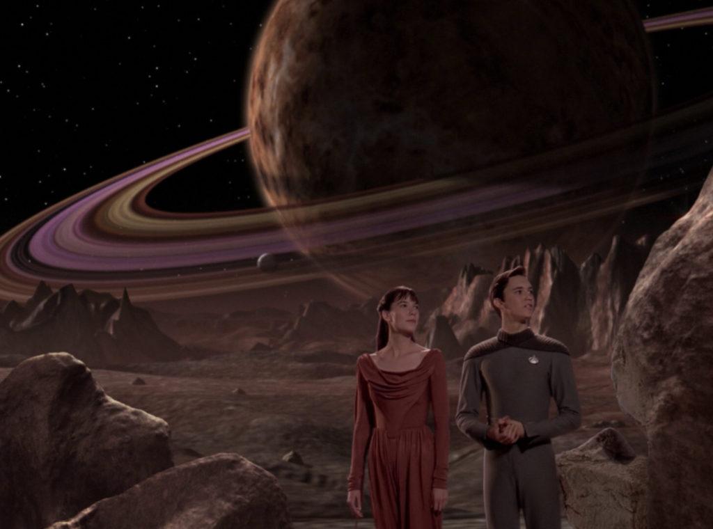 Wesley and Salia on the holodeck