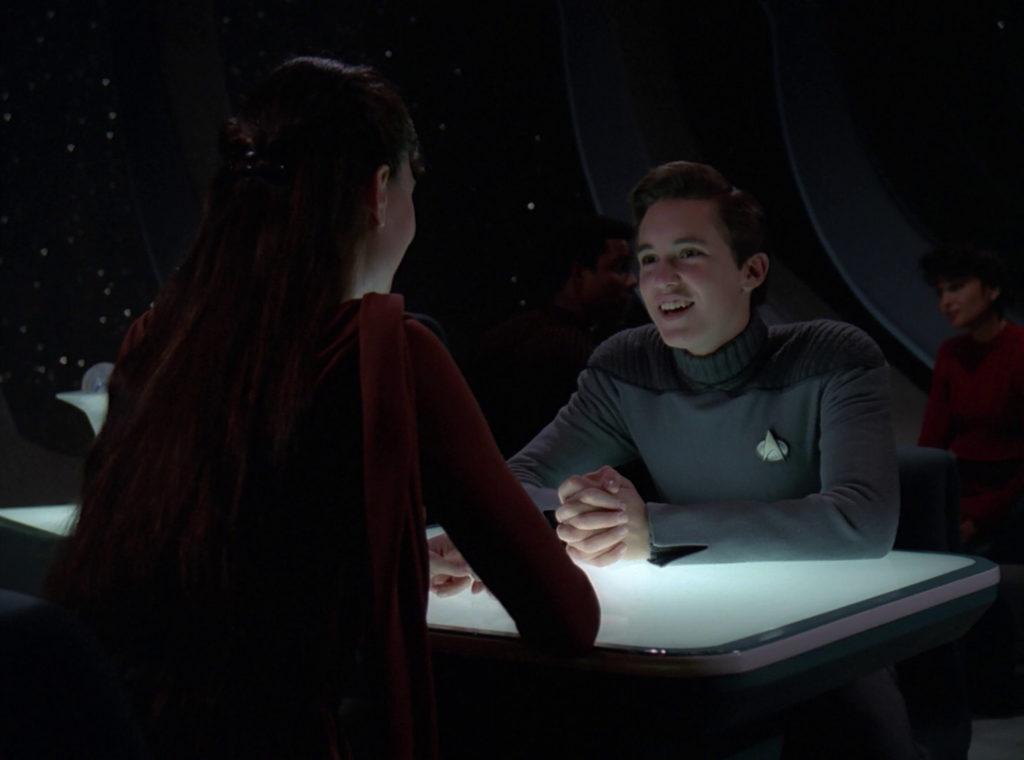 Salia and Wesley in Ten Forward