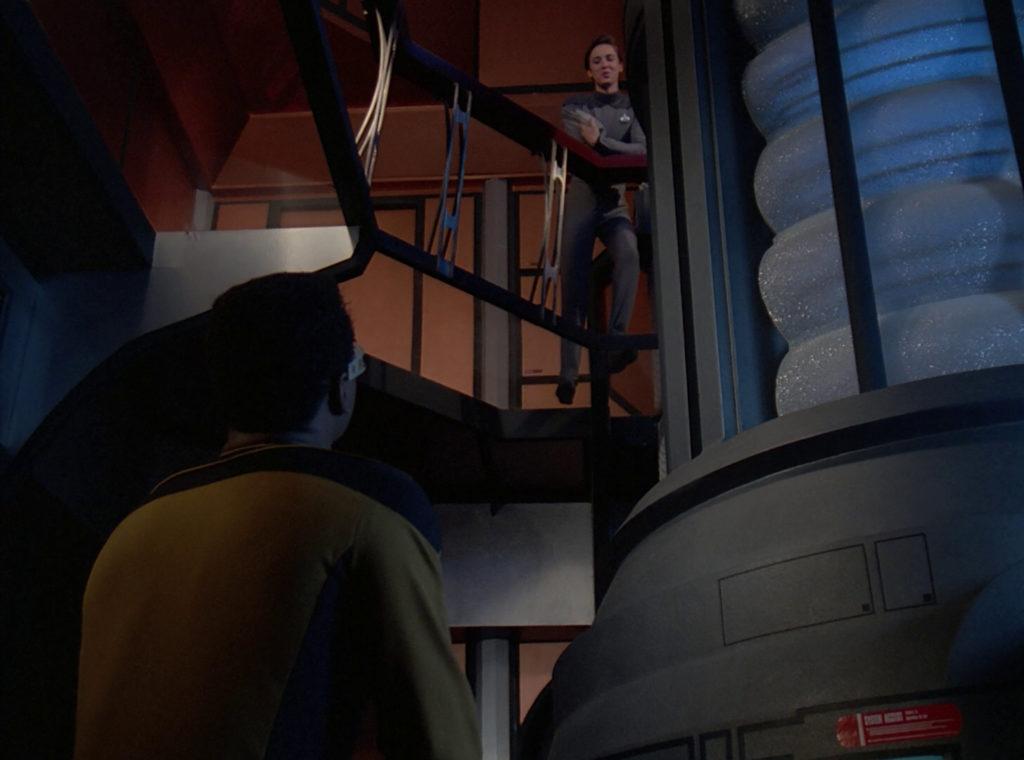 Geordi sees Wesley in Engineering