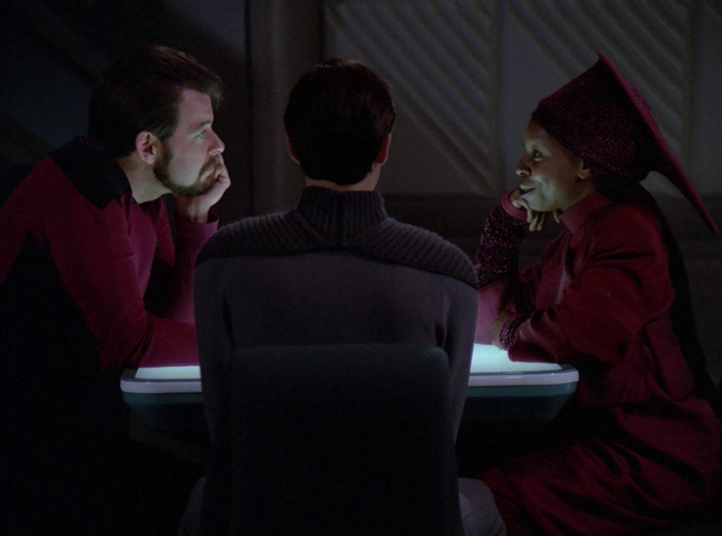 Riker and Guinan flirt in Ten Forward