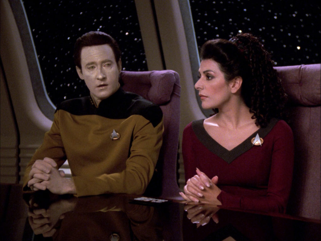 Troi and Data in the conference room