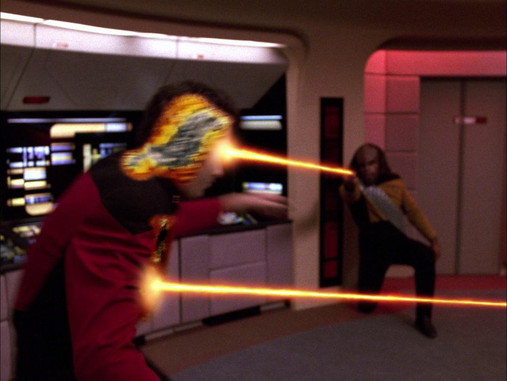 Worf shoots MacDuff