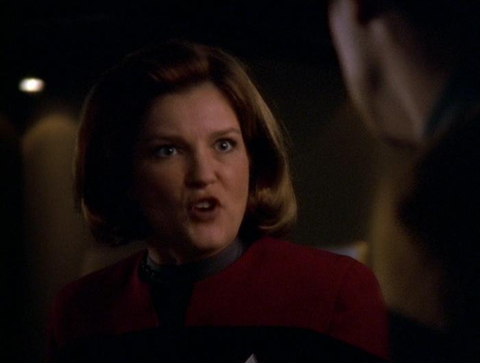 Janeway responds angrily to Harran