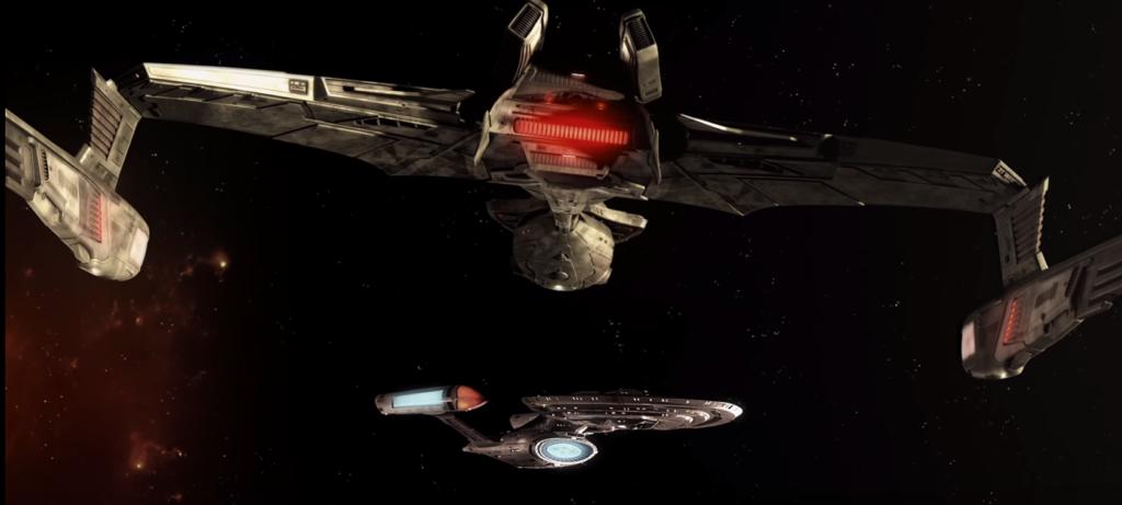 Klingon ship next to a Federation ship