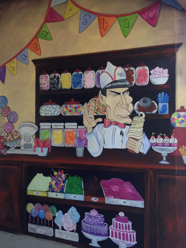 Mural of Spock serving ice cream and candy