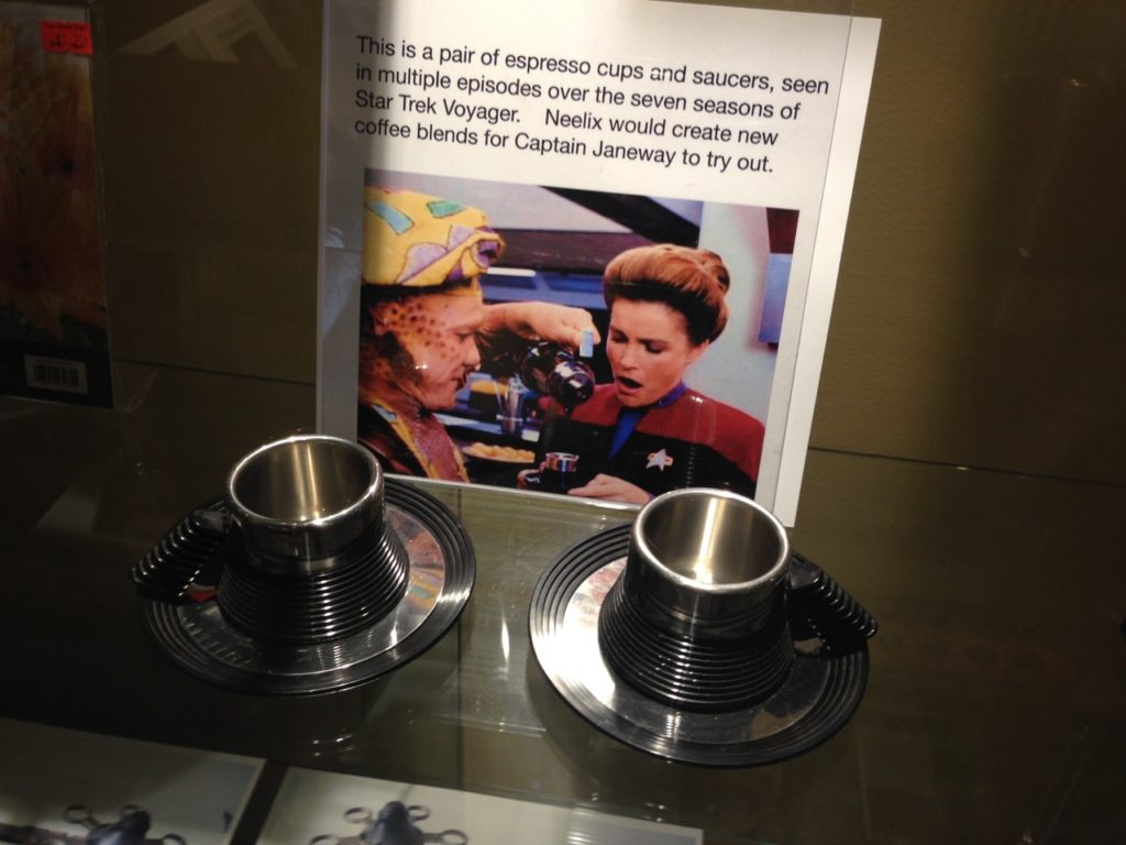 Coffee cups from Voyager at the Trekcetera Museum