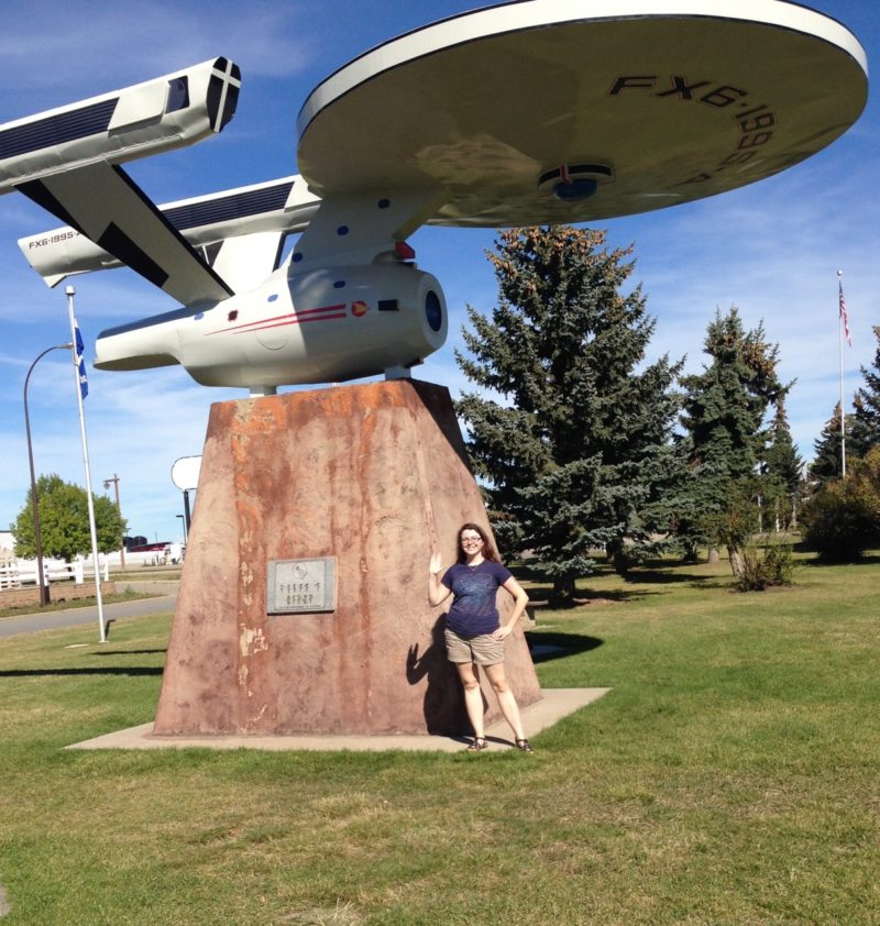 Me with the giant USS Enterprise just off the highway in Vulcan, Alberta