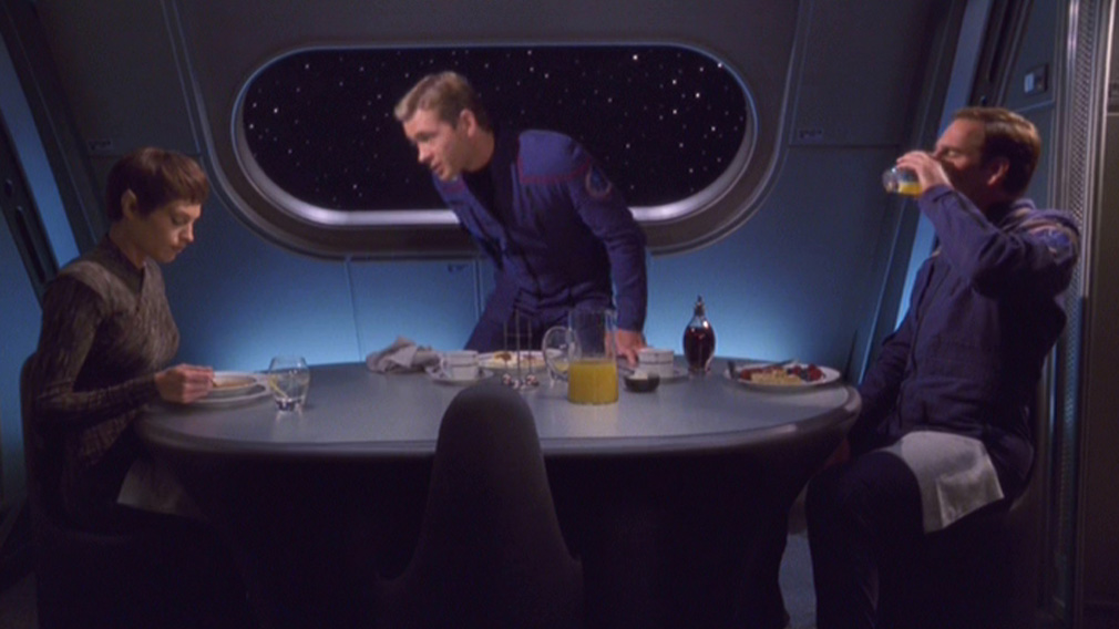 T'Pol, Tucker and Archer eat together in the Captain's dining room