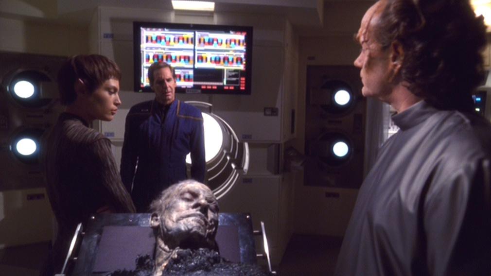 T'Pol, Archer and Phlox examine the body