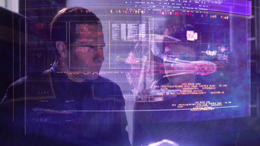 Archer and T'Pol investigate Daniels' quarters