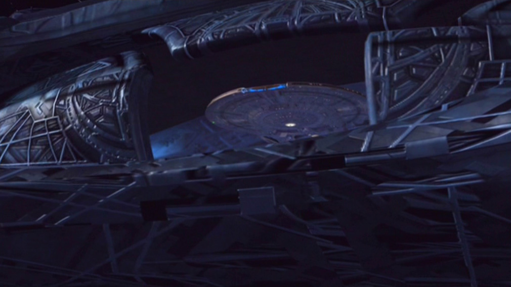 Enterprise being swallowed by a bigger ship