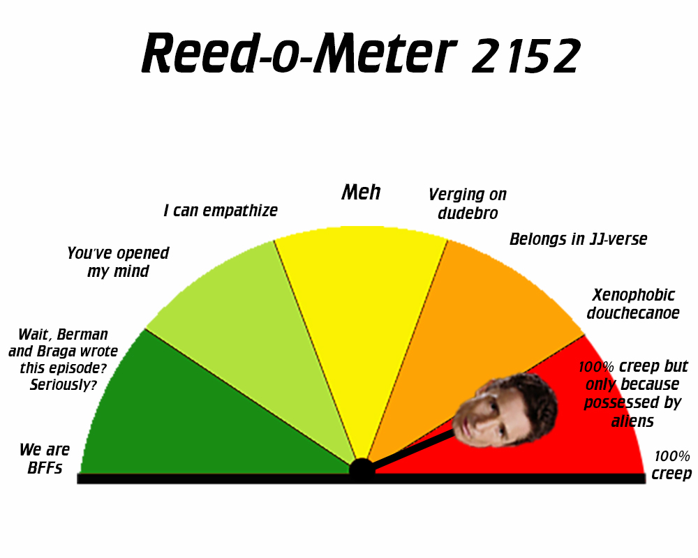 """Reed-o-meter 2152 - creep level set to """"100% creep but only because possessed by aliens."""""""