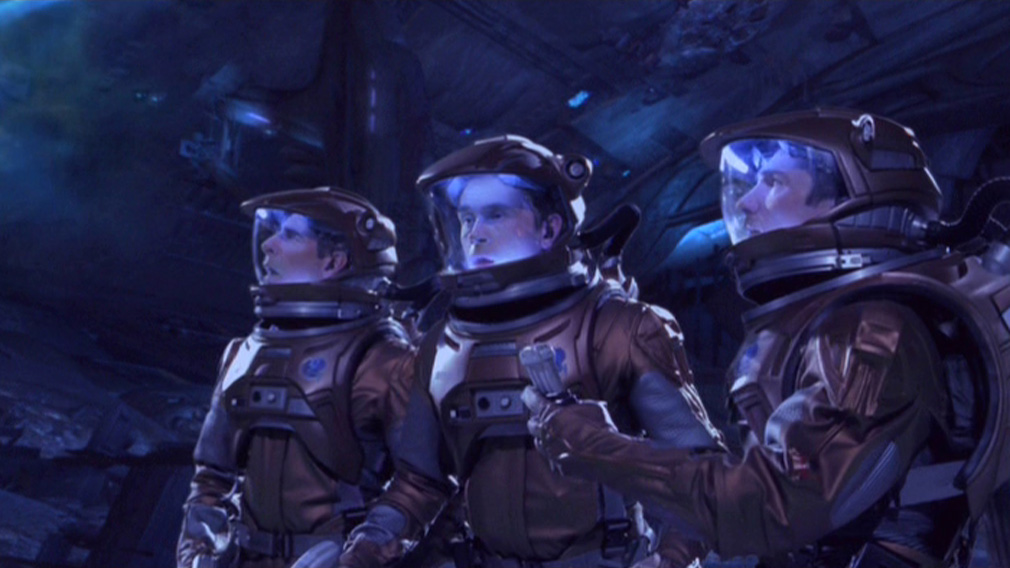 Archer, Reed and Trip in their EV suits, surrounded by glowing balls of light