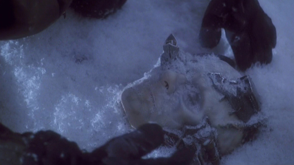 Frozen Borg head being uncovered from a block of ice