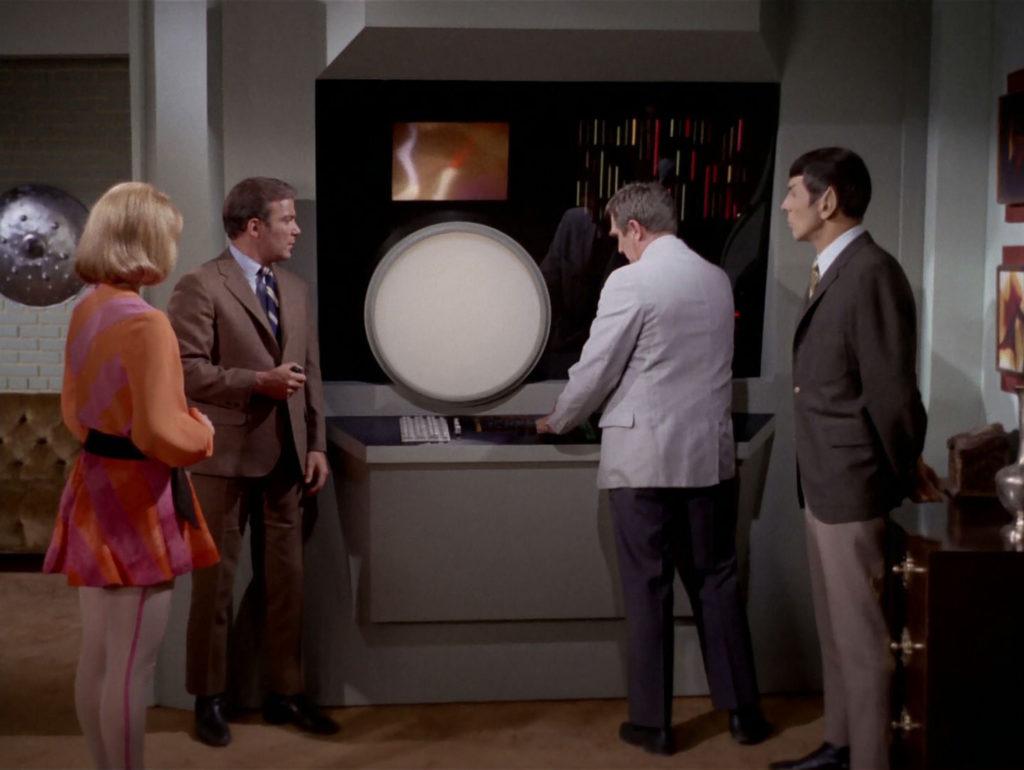 Gary, Roberta, Spock and Kirk at Gary's computer