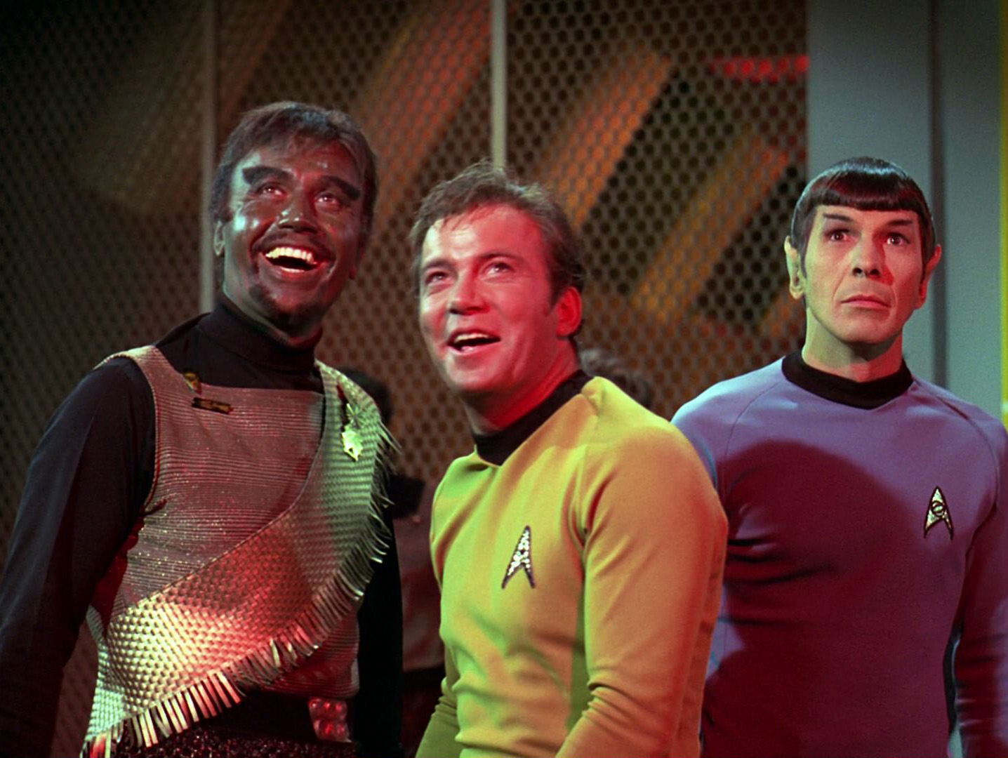 Kang, Kirk and Spock at the end of the episode