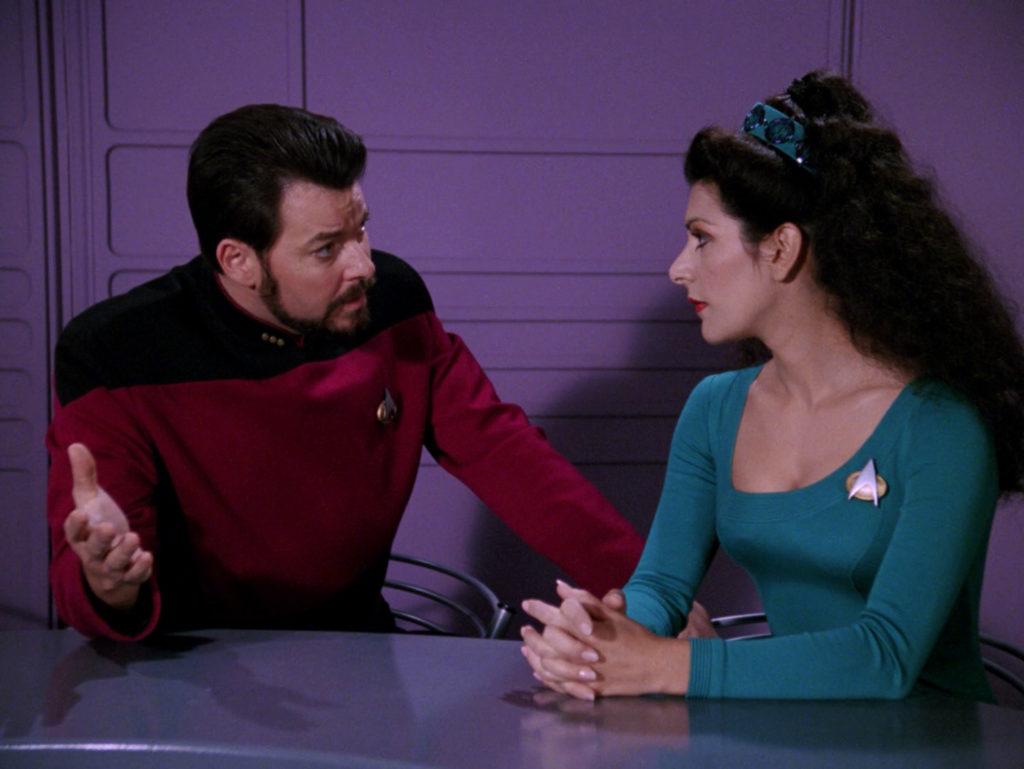 Riker pleads his innocence to Troi