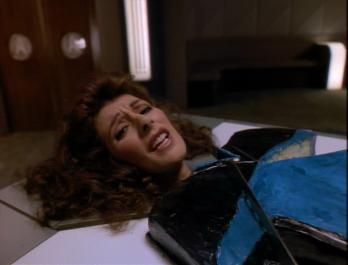 """Troi's head on a cake of her body in """"Phantasms"""""""