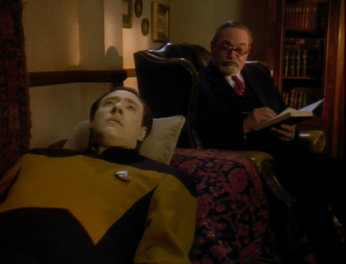 Data lying on Freud's couch in the holodeck