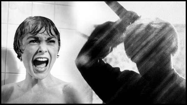 Janet Leigh screaming in the shower scene of Psycho, as a shadowy Norman Bates wields a knife