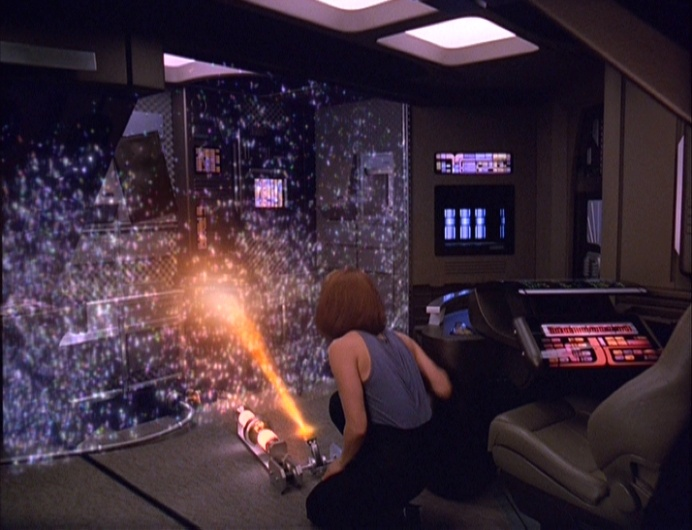 B'Elanna sets up a forcefield that saves the ship