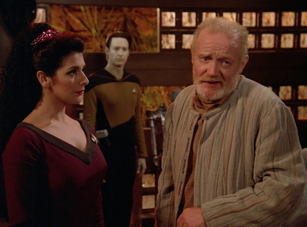 Troi talks with Dr. Graves